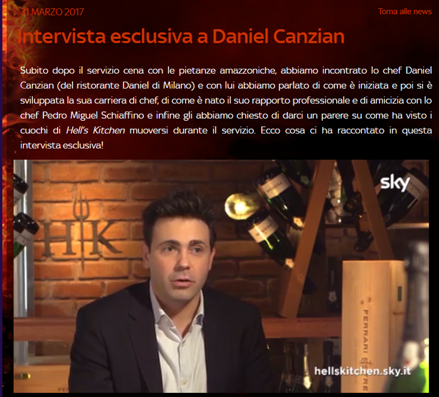 Daniel Canzian a Hell's Kitchen.